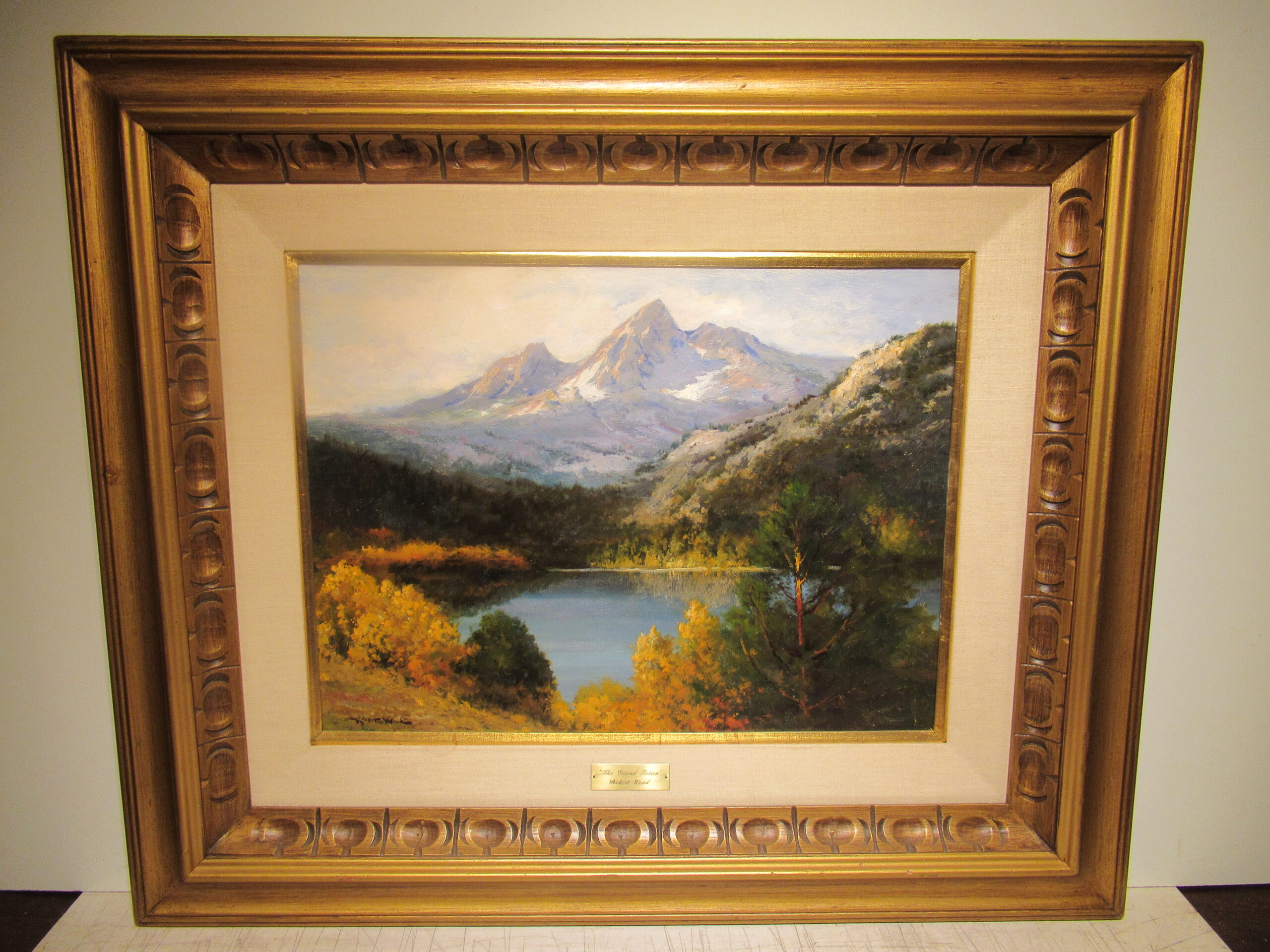 18×24 Robert Wood 1950 Mnt. Teton Oil Painting