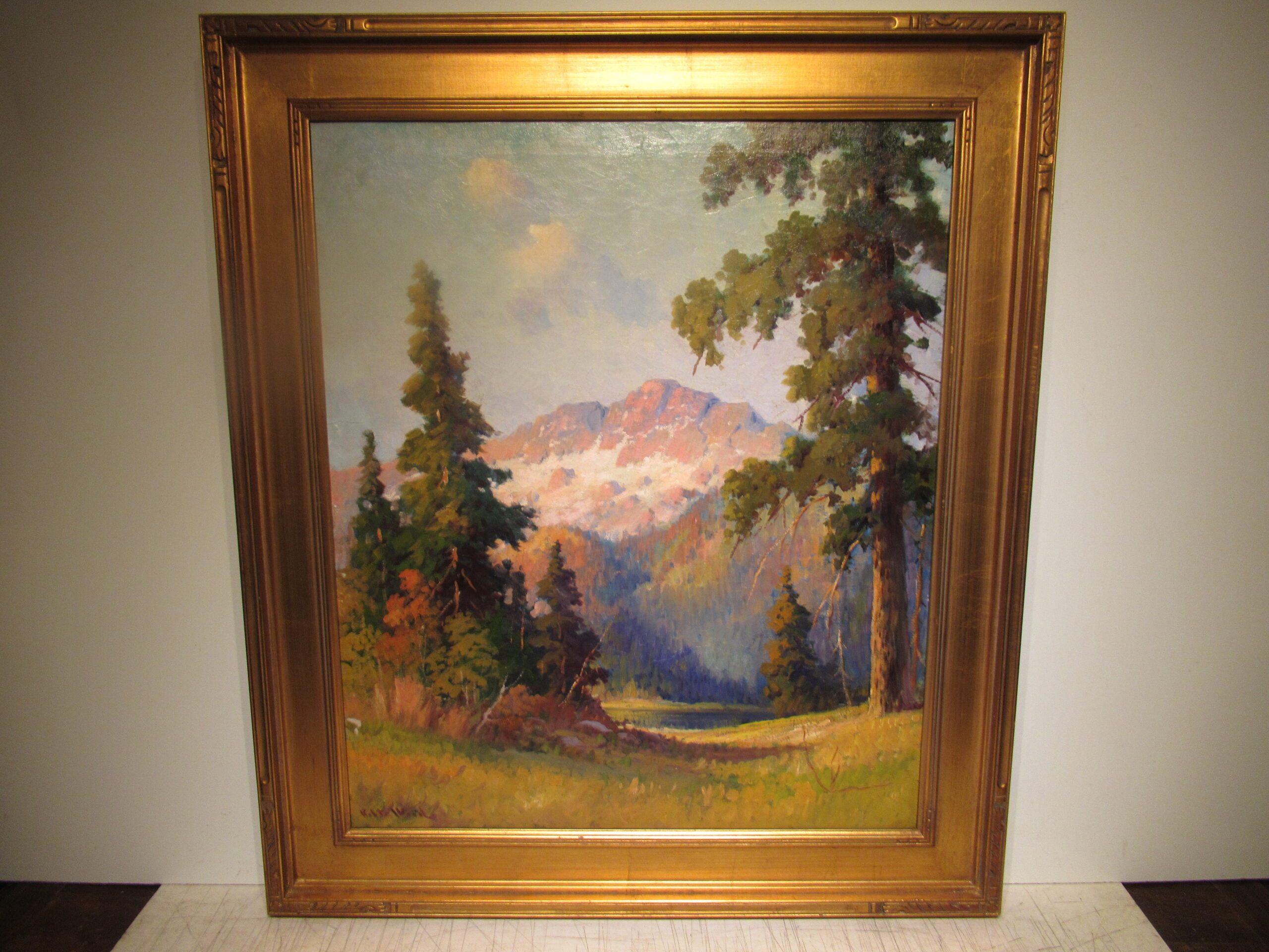 30×25 Robert Wood 1930 Grand Teton Oil Painting