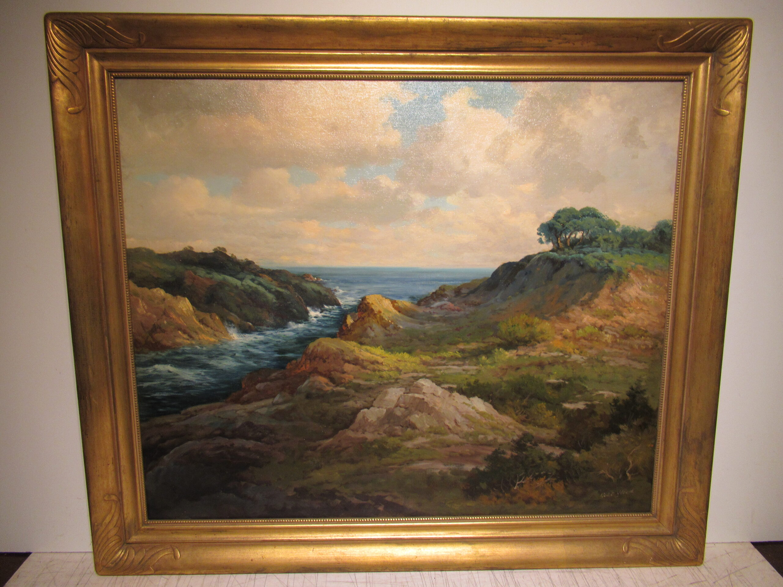 25×30 Robert Wood 1940 Monterey Coast Oil Painting