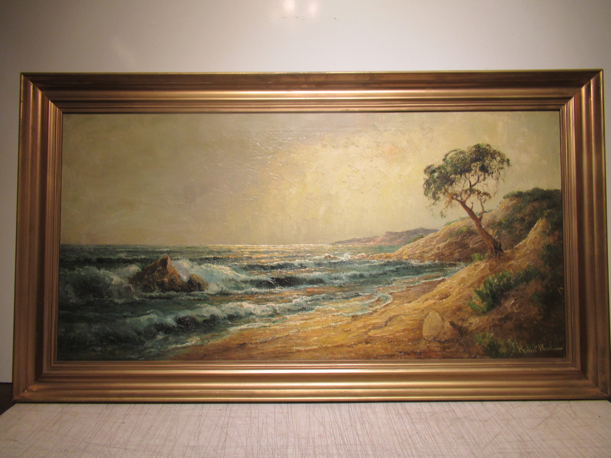 20×40 Robert Wood 1940 Monterey Coast Oil Painting