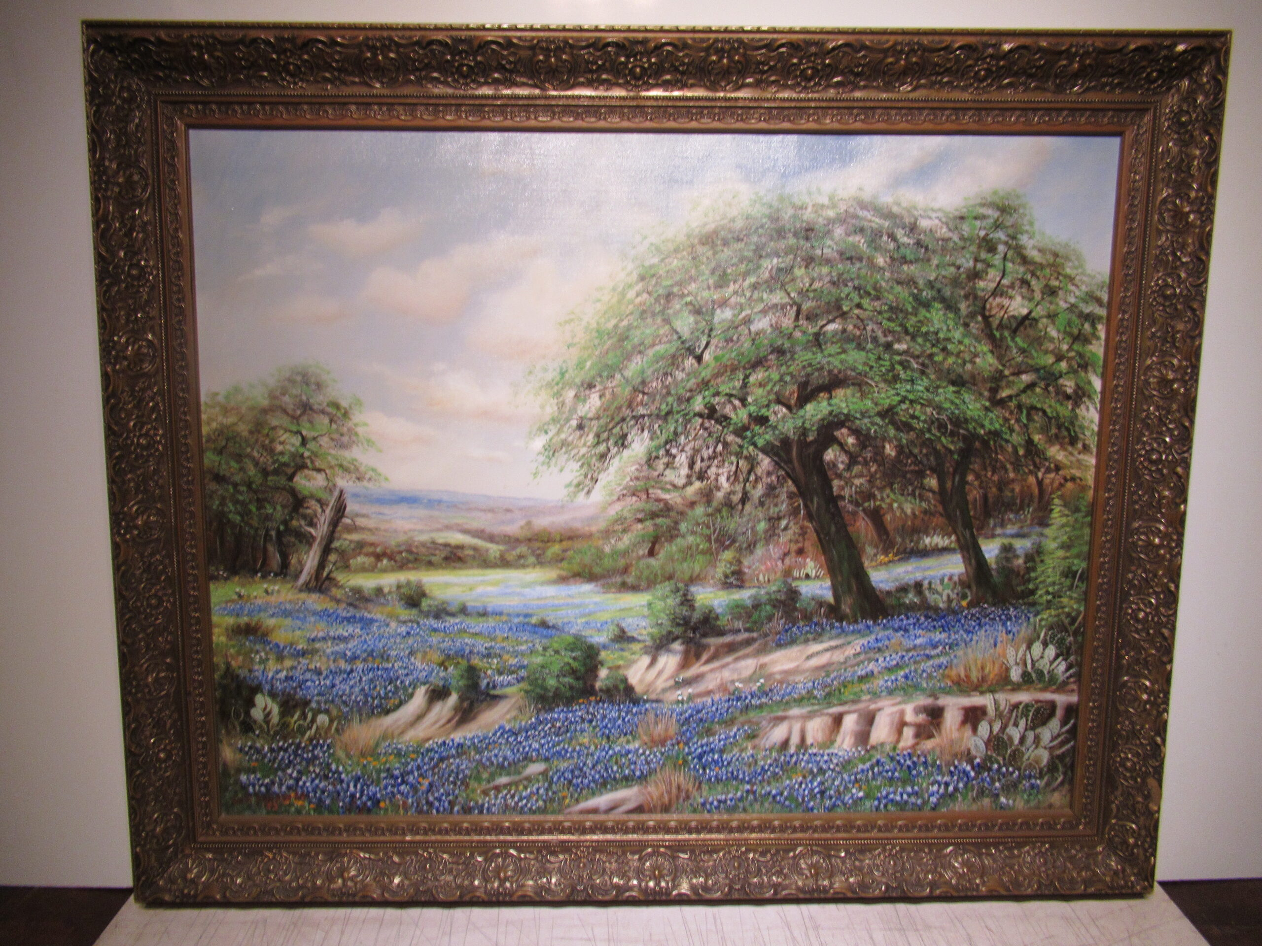 28×36 WR Thrasher 1940 Tx. Bluebonnet Oil Painting