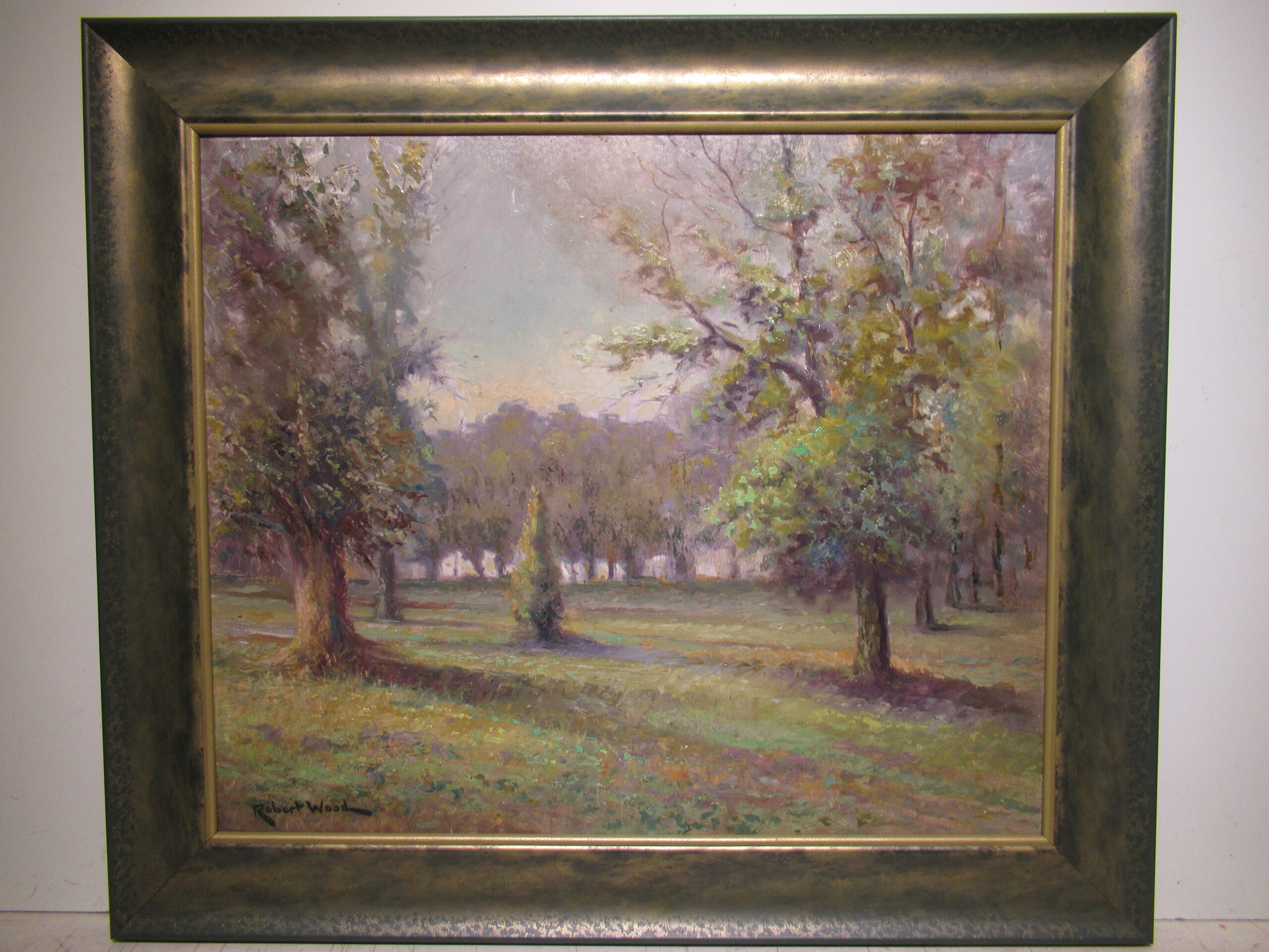 20×24 Robert Wood 1930 Brackenridge Park Oil Painting
