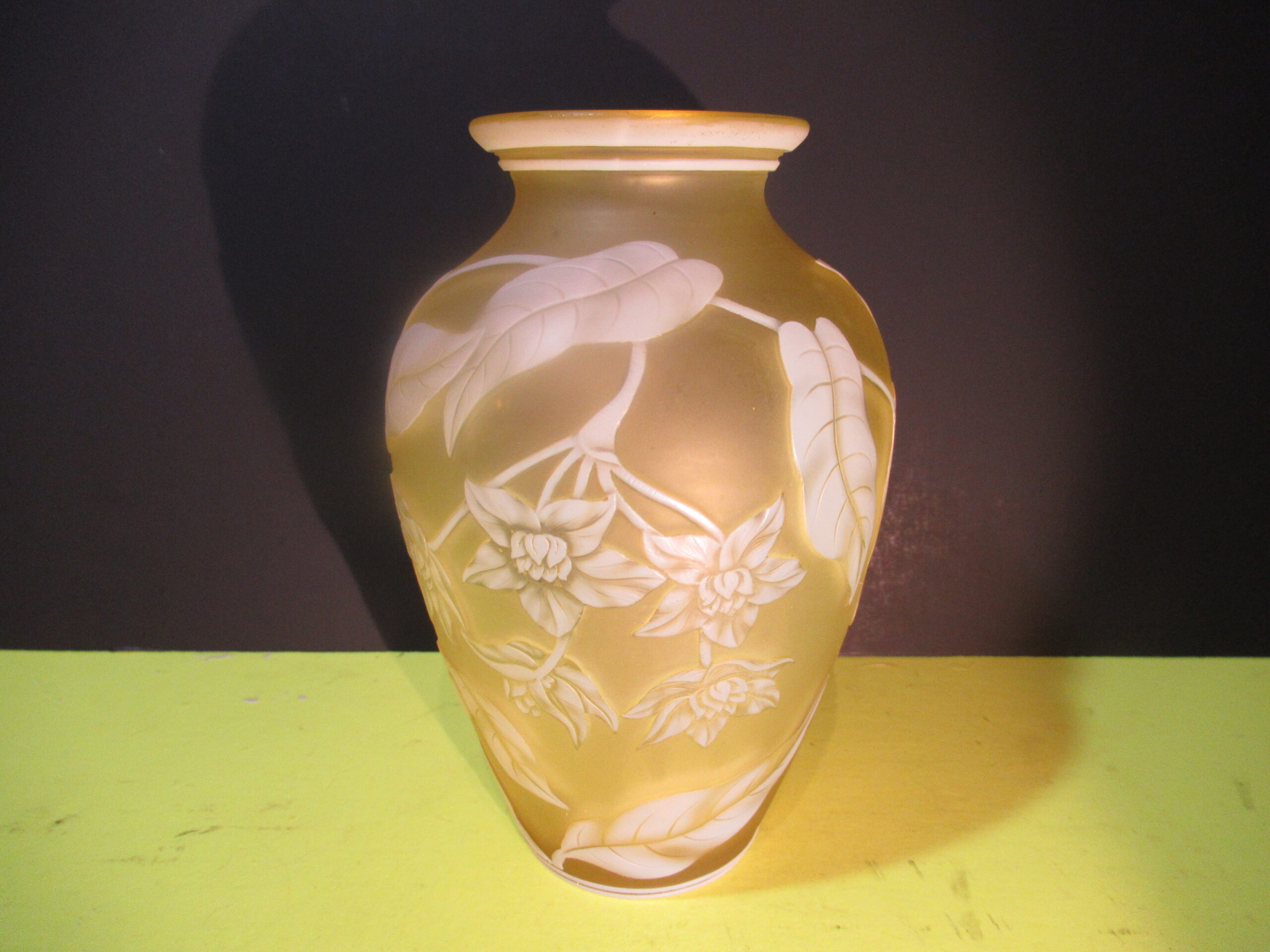 5.5×3.5 Yellow Wasp Cameo Thomas Webb Vase