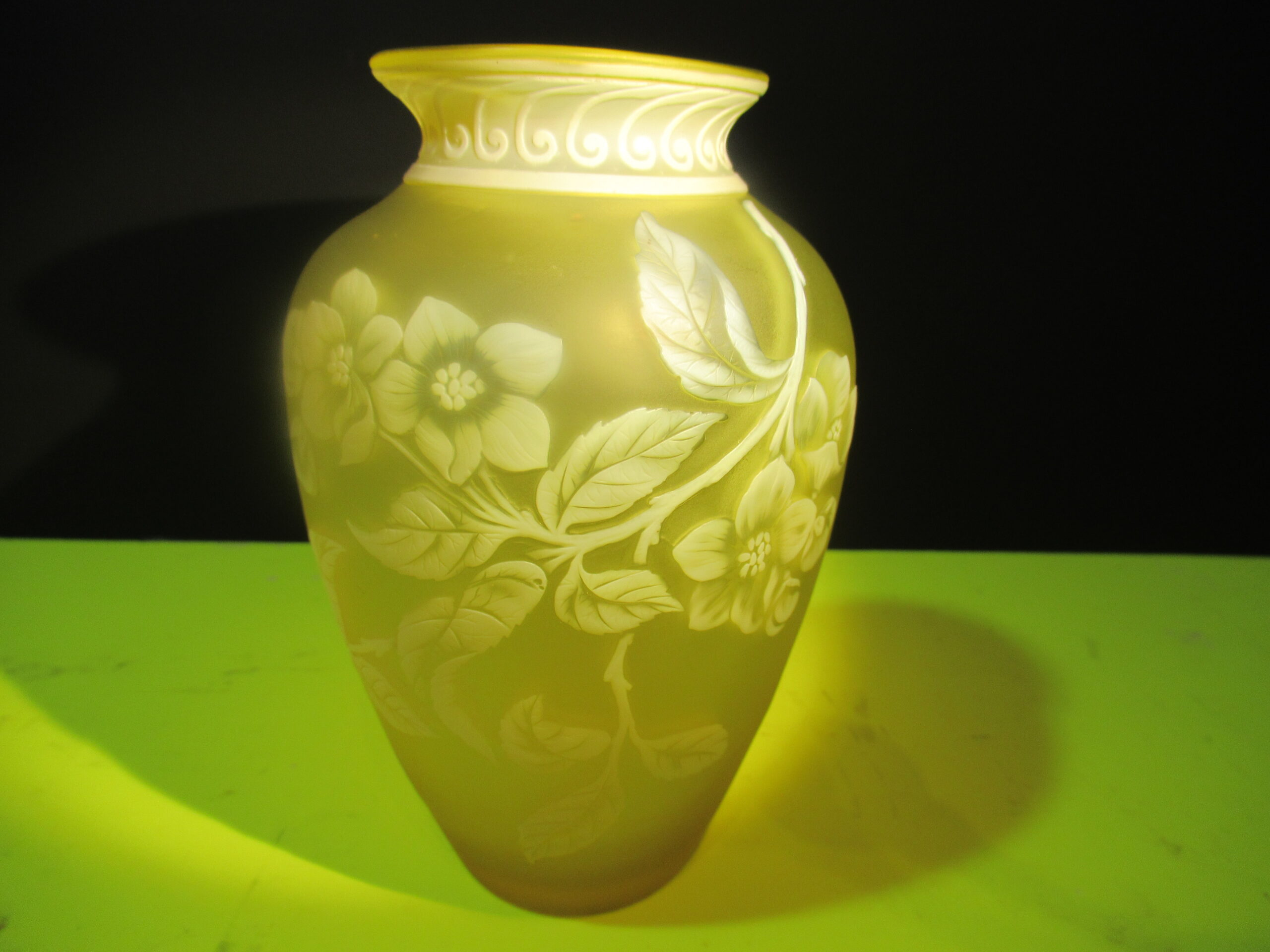5.5×3.5 Yellow Butterfly Cameo Thomas Webb Vase.