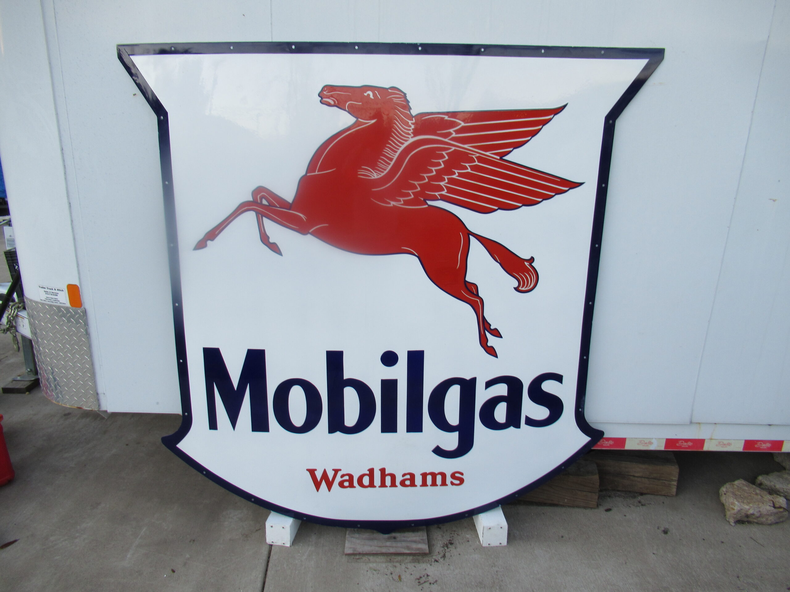 72×74″ SSP 1930 Wadhams Mobil Gas Porcelain Sign