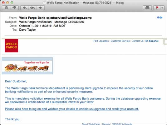 Wells Fargo scam email