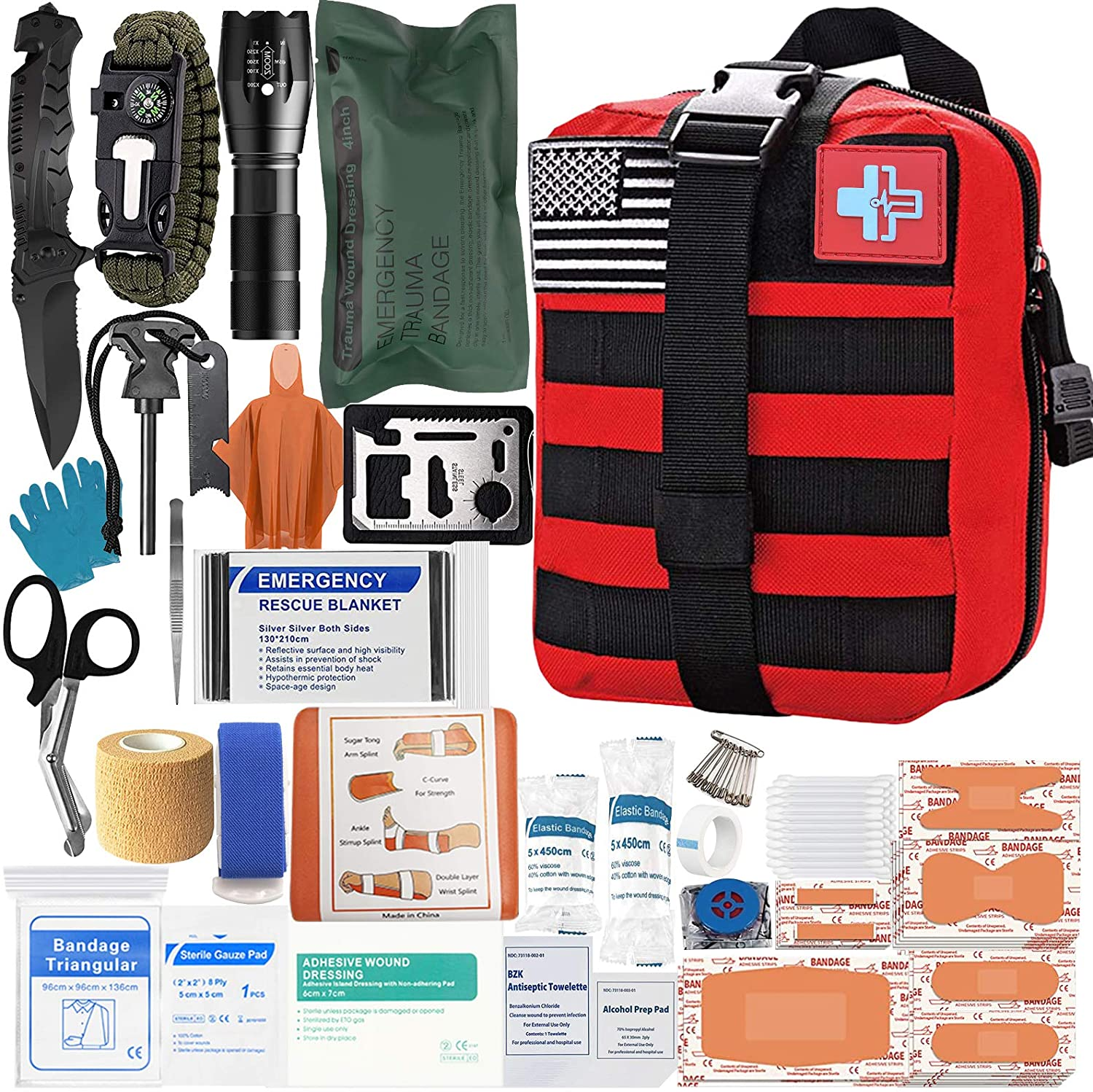Trauma First Aid Kit with Survival Gear Outdoor Tactical Gear Set Military Grade Molle System for Camper Travel Hunting Hiking and Adventures
