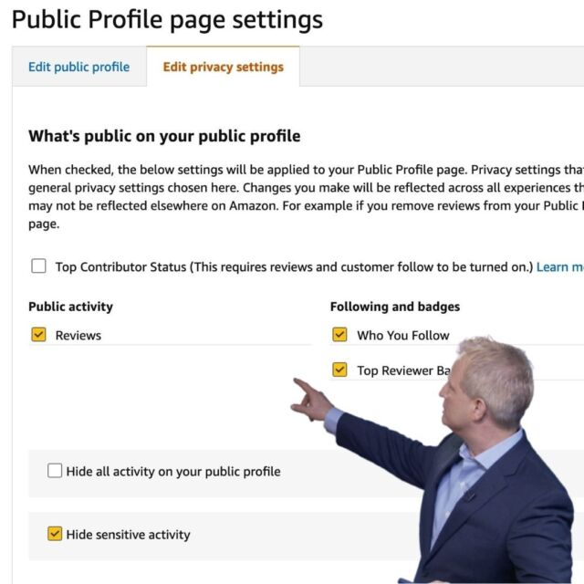 Can you believe certain parts of your otherwise personal and private shopping are being made public by default on the world's largest retail site Amazon? 👀  Change these 3 Amazon privacy settings NOW!  Link in profile.