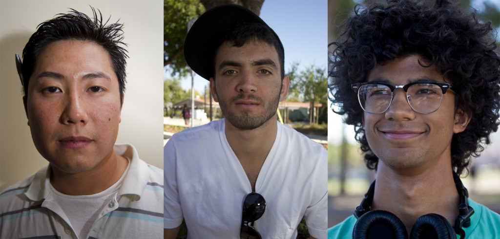 Mark Kim, J Helo and Mohammad Choundhery  (left to right) stop to talk about life after Sept. 11, 2001. Photos: Jose Romero