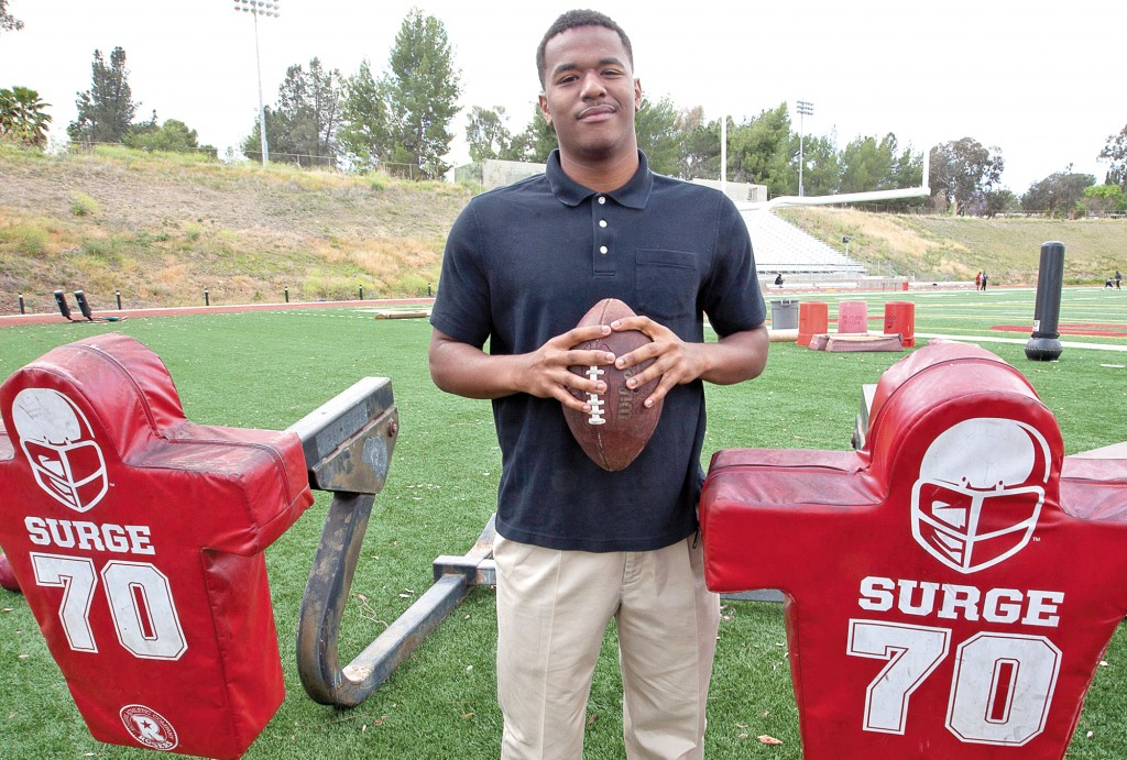Chris Morgan; formerly of the University of Louisiana in Lafayette, and a 2014 Pierce Brahma's football player takes a break from his hectic schedule to discuss football at Pierce's Shepard Stadium on May 6, 2014 at Pierce College in Woodland Hills; Calif.   Photo by:; Gina Woodring.