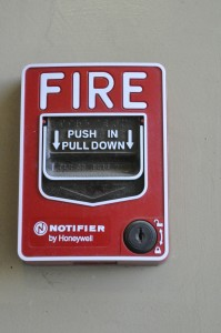 A fire alarm switch in the CFS building at Pierce College in Woodland Hills, Calif. on 3/25/2015. Photo by Joseph Rivas
