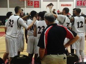Pierce College's men's basketball team huddle up on the sideline before taking the court to go up against Santa Barbara City College's Vaqueros in a home game on Wednesday, Jan. 27, 2016 in Woodland Hills, Calif. Photo: Mitch Nodelman