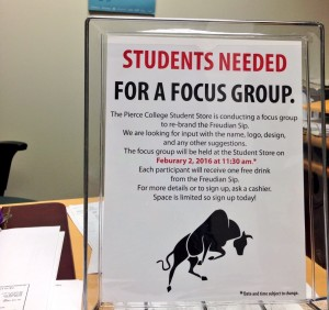 A sign details the information for the student focus group that seeks to rebrand the Freudian Sip is displayed inside the student store on Monday, Feb. 1, 2016. Woodland Hills, Calif. Photo: Samantha Bravo