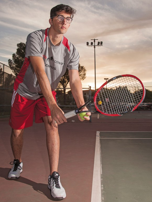 Anthony Avakian was an accomplished swimmer in high school before a car accident left him in a coma. He now plays tennis for Pierce. Avakian prepares for a serve on the tennis court of Pierce College in Woodland Hills, Calif. on Monday, March 22. Photo: Mohammad Djauhari