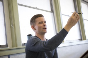 Justin Dahlbeg explains perspective in a fine arts building classroom on Oct. 25, 2016 in Woodland Hills, Calif. Photo by Taylor Arthur