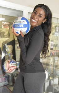 Danetta Boykin, assistant coach for the women's volley ball team, poses for a portrait on Oct. 12, 2016 in the South Gym at Pierce College Woodland Hills, Calif. Boykin was a student at Pierce and she returned  to become an assistant coach for her team, she also dreams to play professionally in Europe.  Photo by Ezzat Wanas