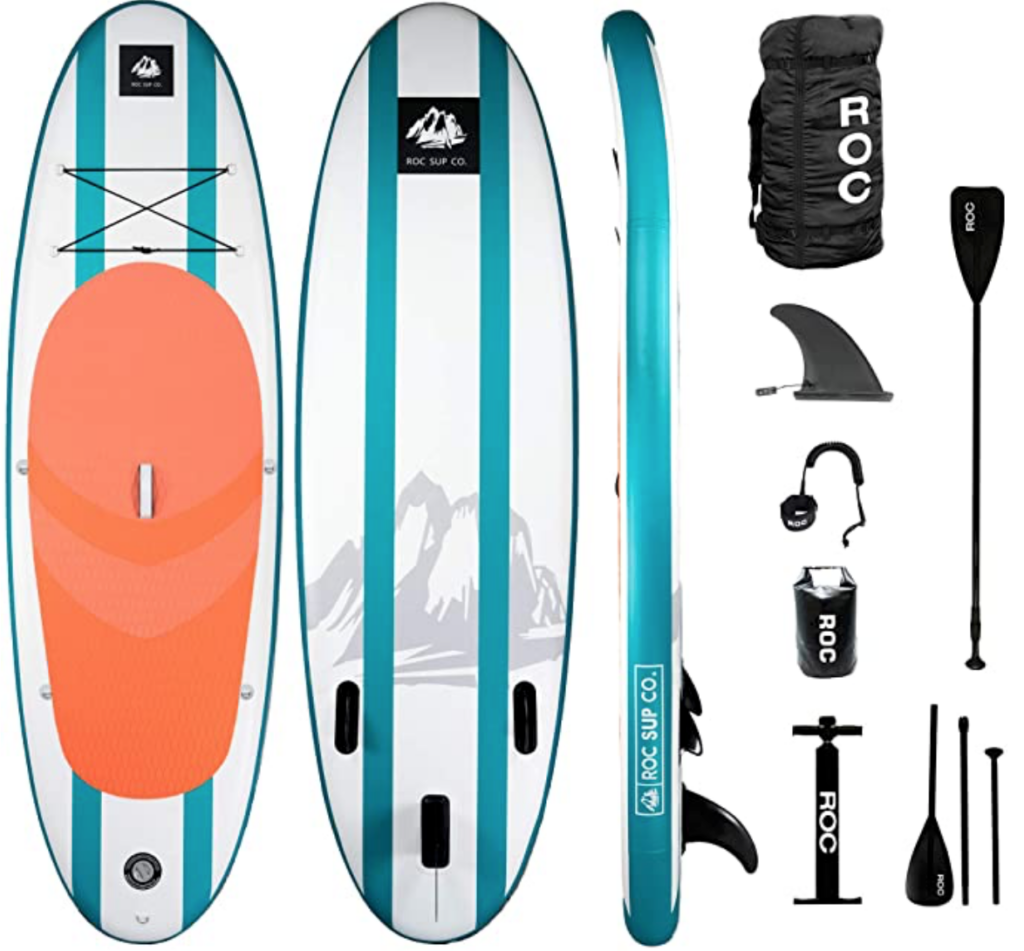 teal orange roc paddle board