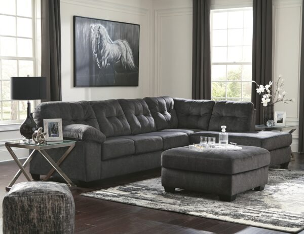 Accrington Granite Chaise Sectional With Ottoman