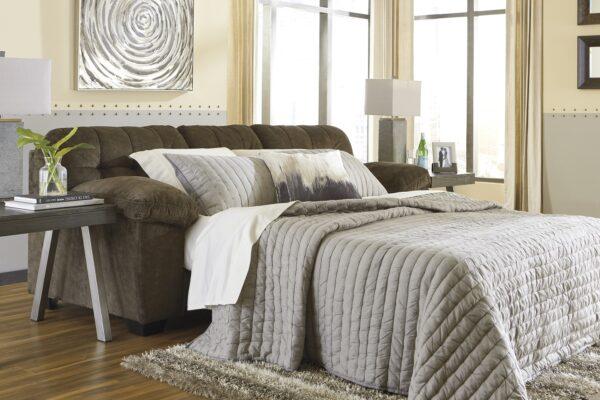 Accrington Earth Queen Sofa Sleeper (Room View Open Bed)