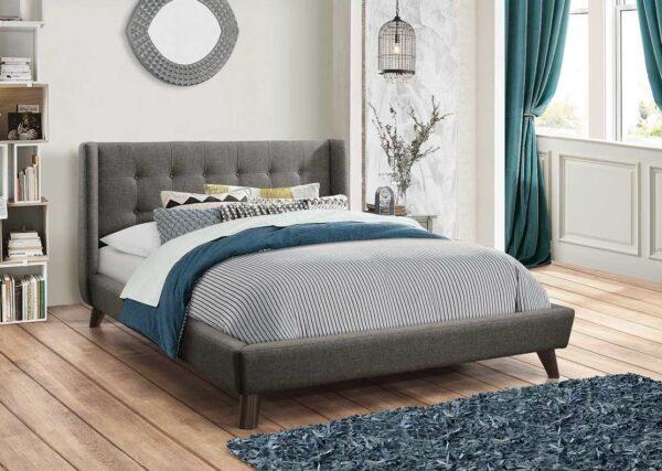Carrington Grey Upholstered Platform Bed (Room View)