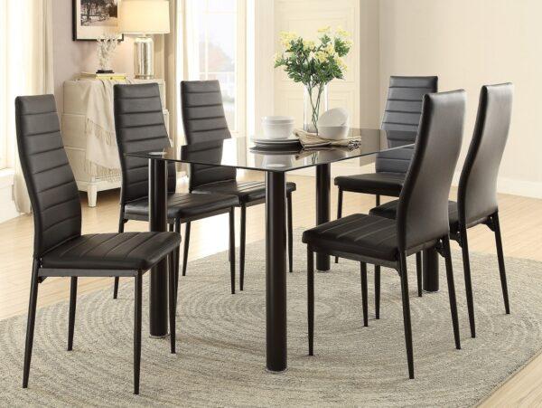 Florian Black 7-Piece Dining Set (Room View) AGA 5538BK