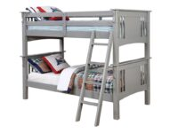 Spring Creek Gray Twin Over Twin Bunk Bed FOA CM-BK602T-GY