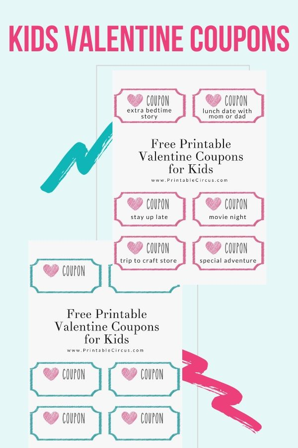 Download and print these FREE Valentine coupons for kids. You can either print the pre-written ones, or fill in your own coupons with your own experiences and rewards.