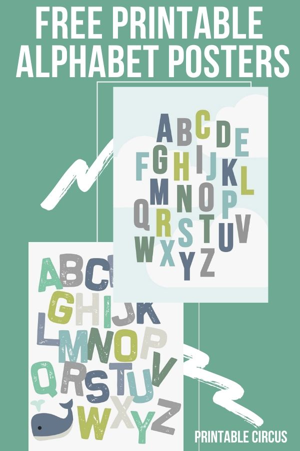 Free Printable Alphabet Posters in Muted Tones