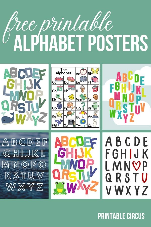 Grab these TOTALLY FREE printable alphabet wall art pieces and posters. These posters and prints are perfect for decorating your home school classroom, playroom, or a child's bedroom or nursery.