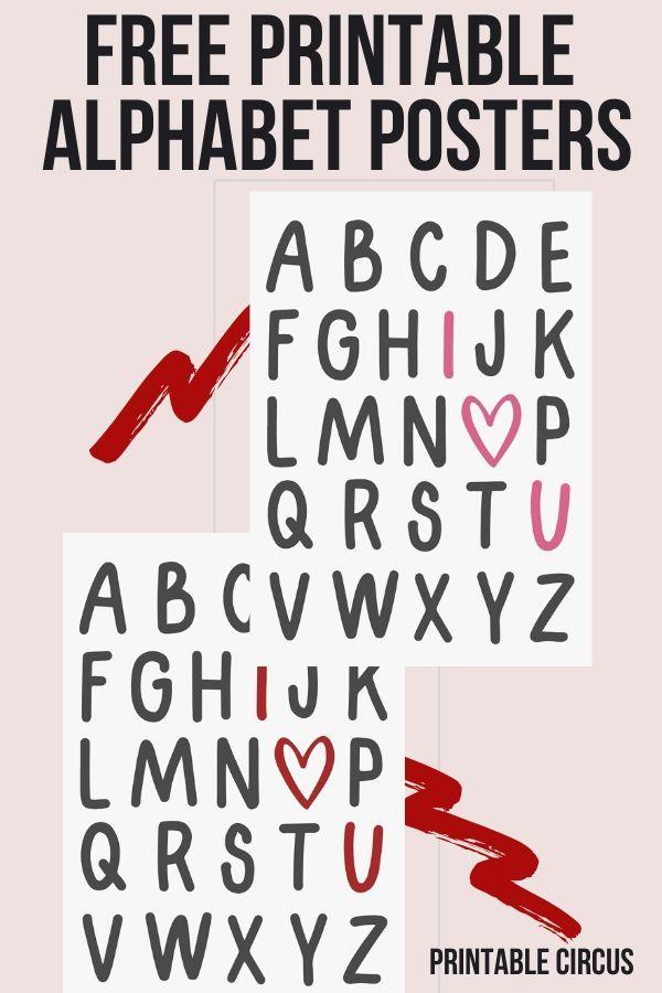 "Free Printable ""I Heart U"" Alphabet Wall Art Posters"