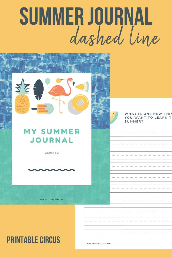 Summer Writing Journal for Kids - dashed line