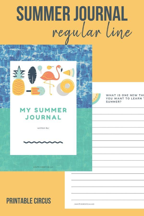 Summer Writing Journal for Kids - regular line