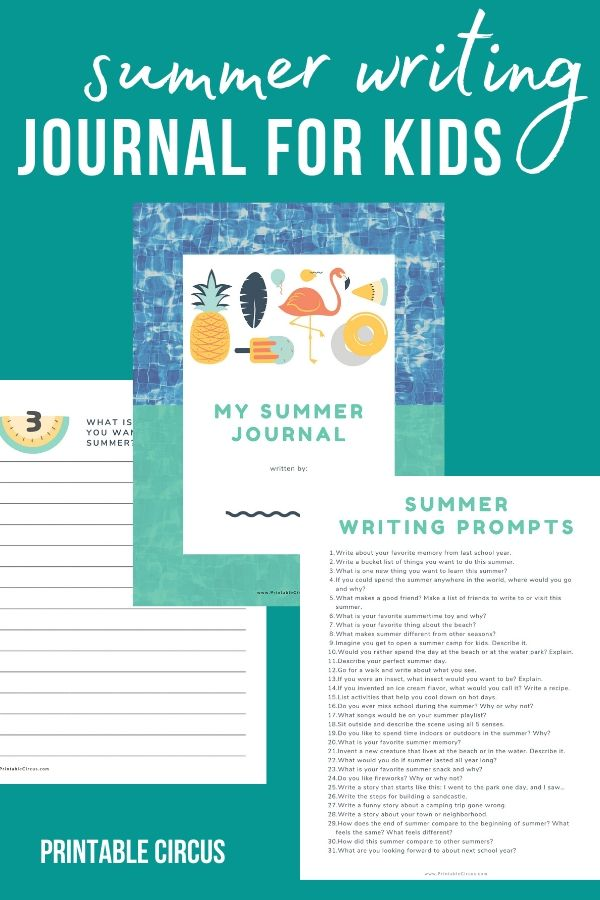 Keep your children academically engaged and writing this summer with this FREE printable Summer Journal for Kids, complete with 31 summer-themed creative writing prompts.