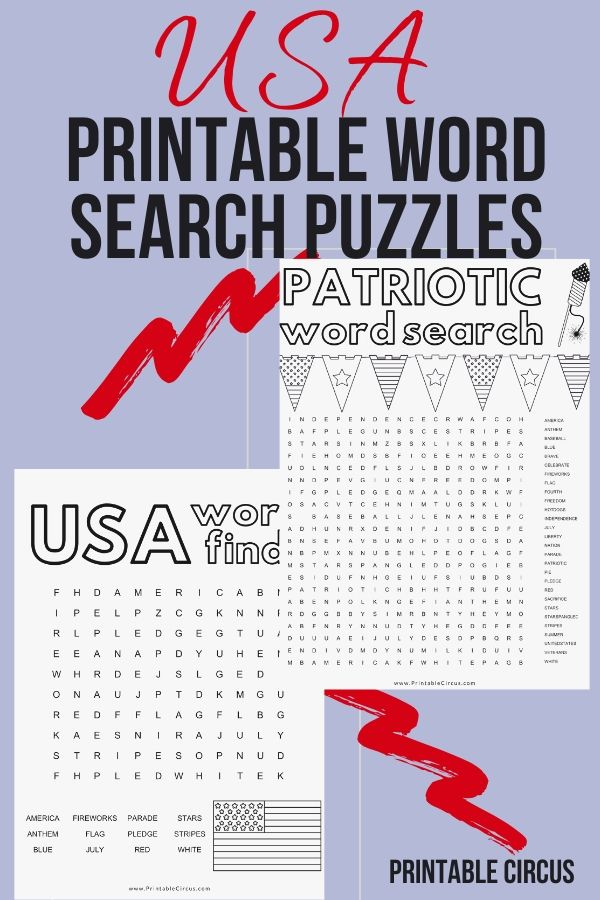 Download and print these FREE printable patriotic word search puzzles. They're in PDF form so you can play and enjoy right away. Fun printable USA word find games for Memorial Day or 4th of July.