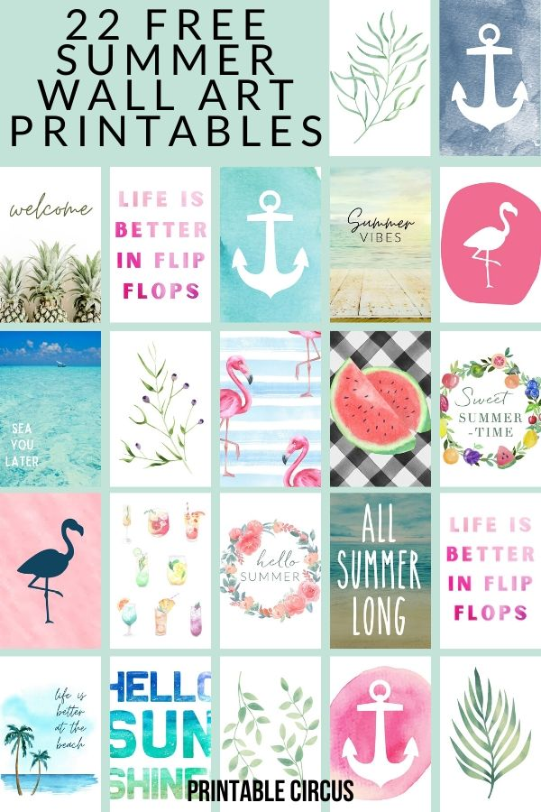 Update your home decor with these totally FREE summer wall art printables. Ready to download in PDF format. Use in summer gallery walls, craft projects, and more!