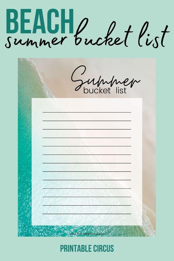 Beach Summer Bucket List FREE Printable - from Printable Circus