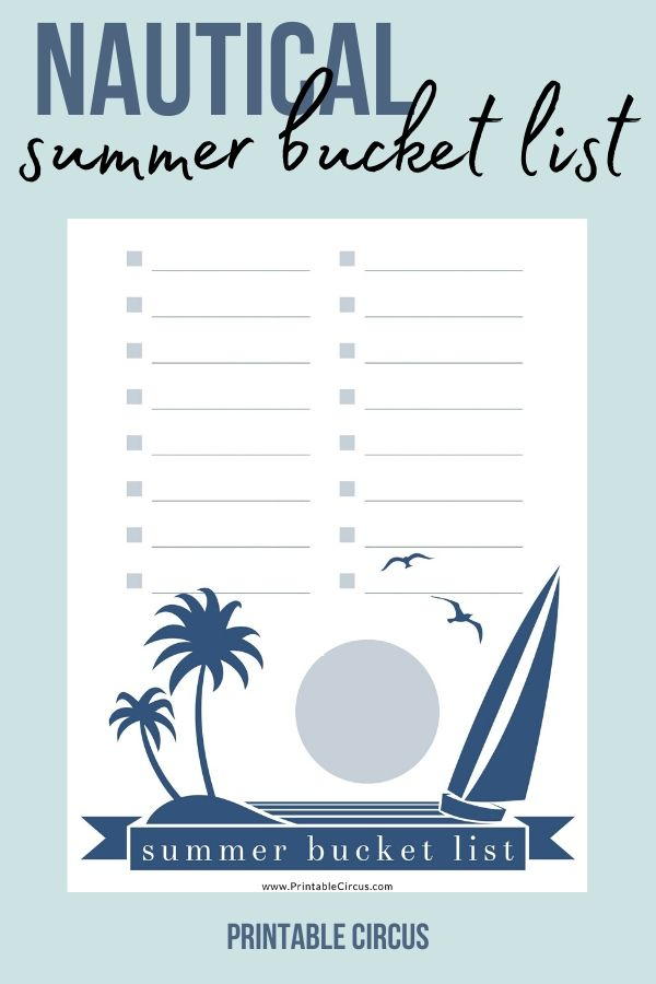 Nautical Summer Bucket List FREE Printable - from Printable Circus