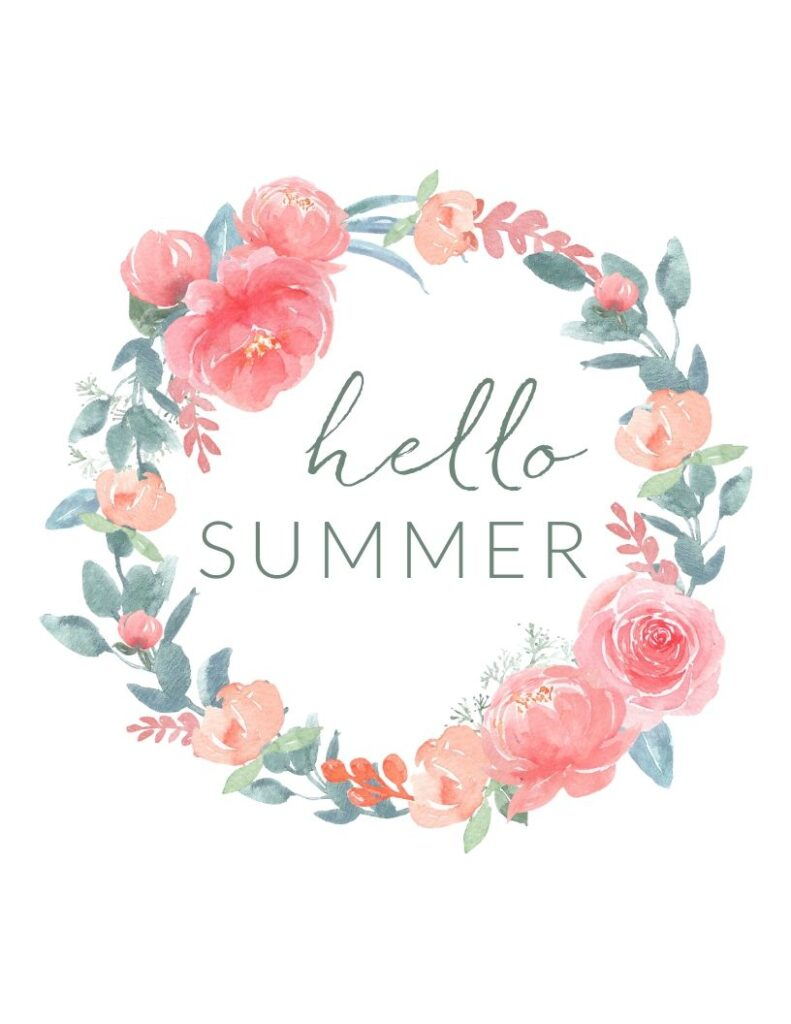 """floral wreath """"hello summer"""" free printable - pink and green summer floral wall art print"""