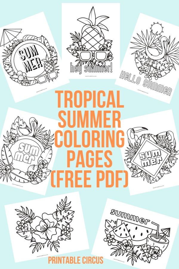 Free printable tropical summer coloring pages: a FREE 7-page PDF with tropical summer coloring sheets just waiting to download, print, and color. Great for creative people of all ages.