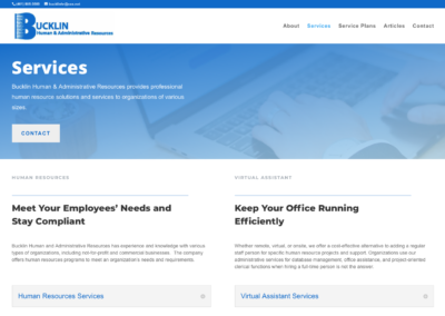 Bucklin Human & Administrative Services website design