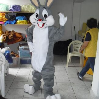 gray bunny costumed character