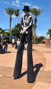 skeleton stilt walking