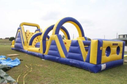 large obstacle course inflatabvle moonwalk bounce house