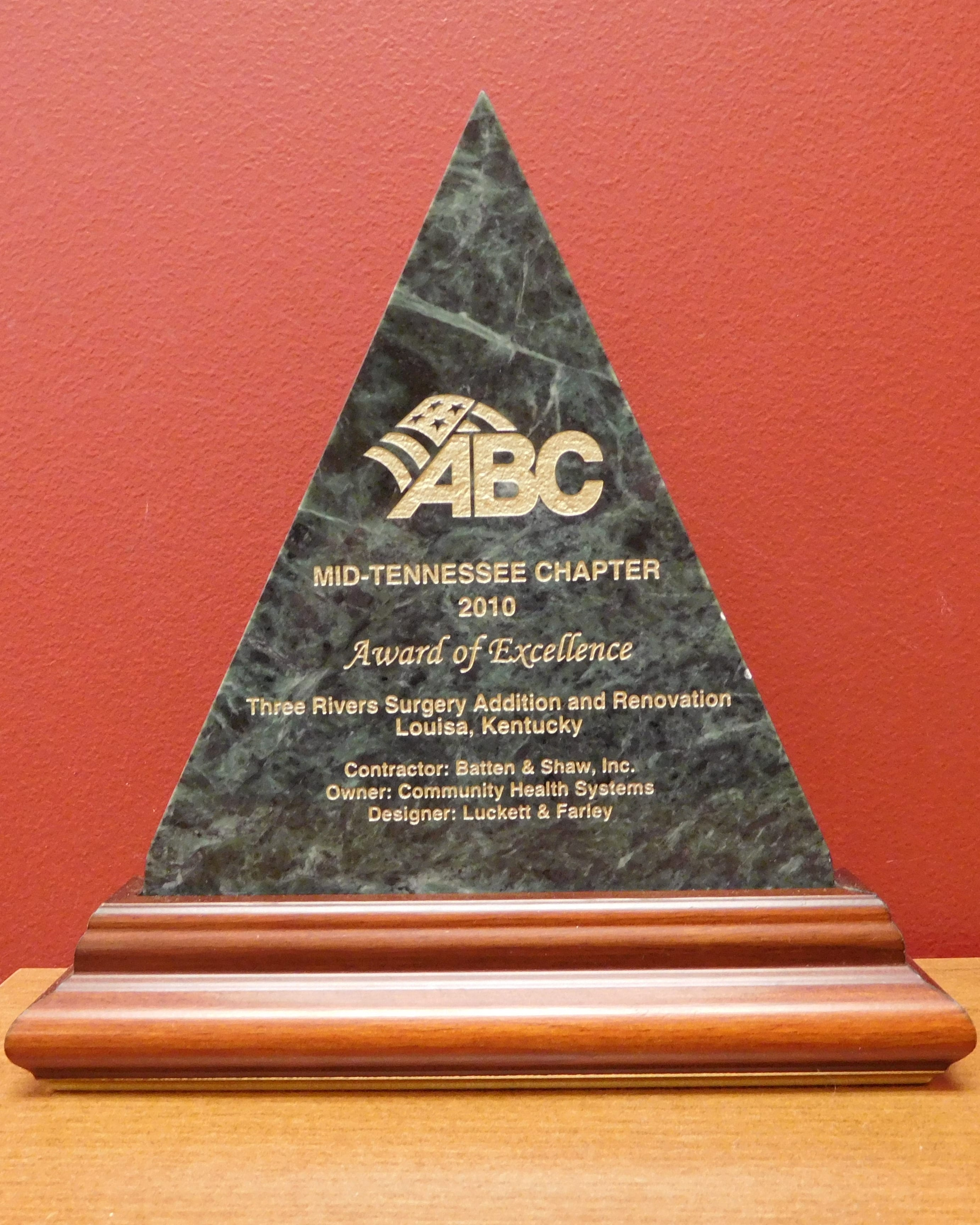 2010 ABC Award of Excellence Three Rivers