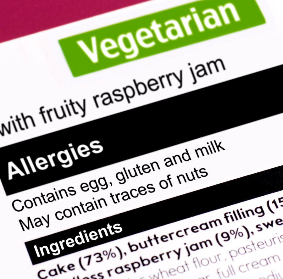 """Ingredients label that calls out food allergies and """"may contain"""" language"""