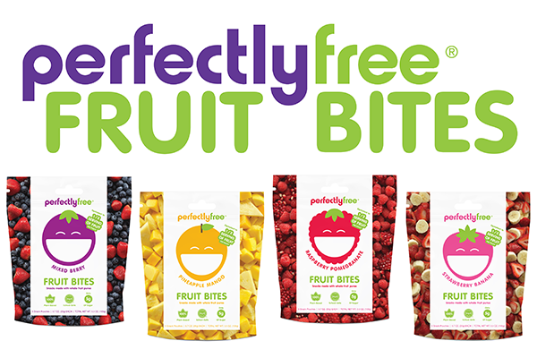 perfectlyfree Fruit Bites logo and packaging