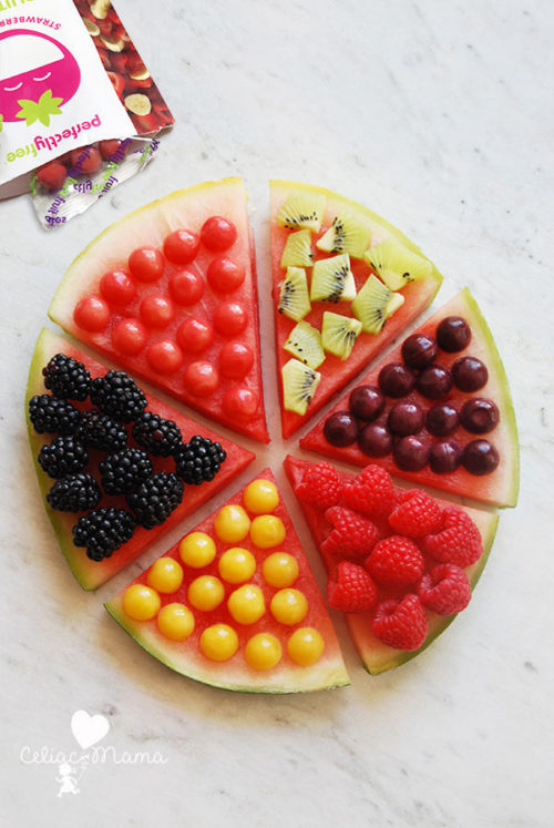 overhead of a whole perfectlyfree simple fruit pizza