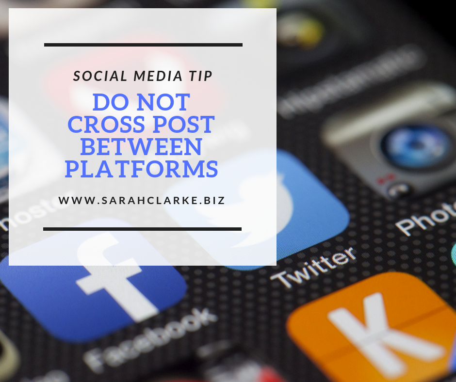 SOCIAL MEDIA TIP do not cross post on social media platforms