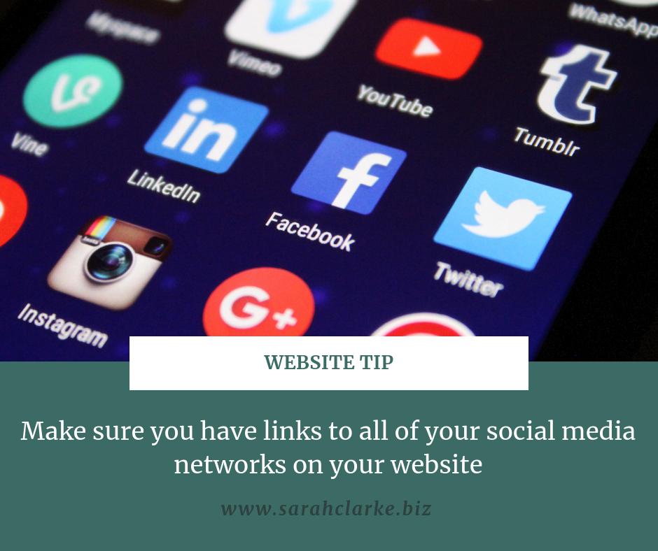 website tip use social media icons