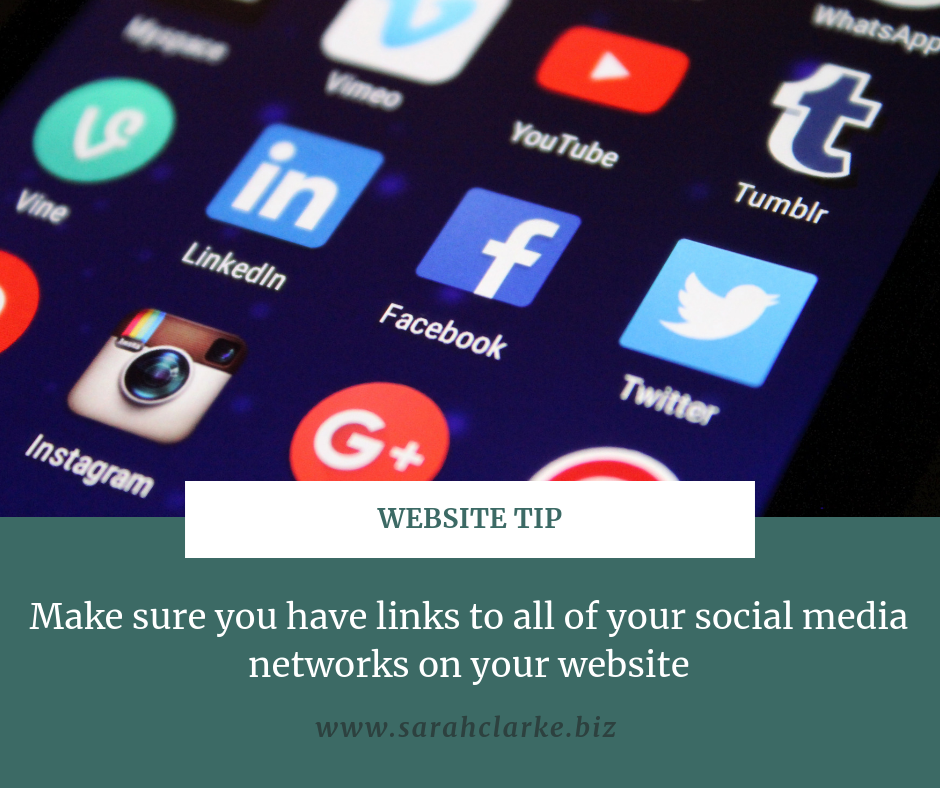 website tip use social media icons